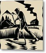 Farmer With Scythe Metal Print by Aloysius Patrimonio