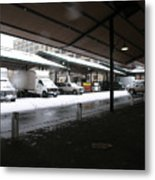 Farmers Market In The Snow Metal Print