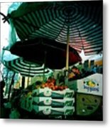 Farmers Market With Striped Umbrellas Metal Print