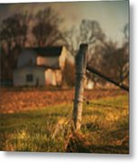 Farmhouse And Fence Post Metal Print
