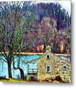 Farmhouse By The Lake Metal Print