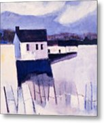 Farmhouse In Winter Metal Print