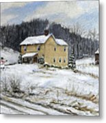 Farmhouse Snowman Metal Print