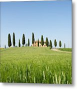 Farmhouse With Cypress Trees And Crops In Tuscany Metal Print