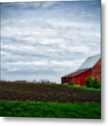 Farming Red Barn On A Quite Spring Day Metal Print