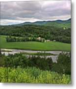 Farmland View Over The Connecticut River  Metal Print