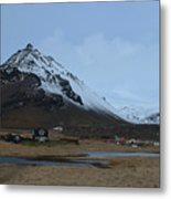 Farms At The Base Of Mt Stapafell In Iceland Metal Print