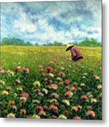 Farmstand Flower Lady Metal Print