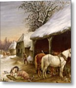 Farmyard In Winter  Metal Print