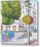 Farola With Flowers In Wilshire Blvd., Beverly Hills, California Metal Print
