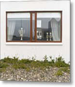Facade - A Window With A Trophy To Show Metal Print