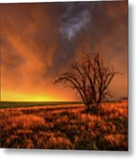 Fascinations - Warm Light And Rumbles Of Thunder In The Oklahoma Panhandle Metal Print