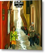 Fashion Alley In Bologna Metal Print by Milagros Palmieri