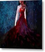 Fashion Illustration Red Metal Print