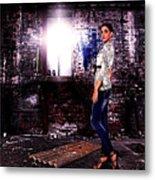 Fashion Model In Jeans  Metal Print