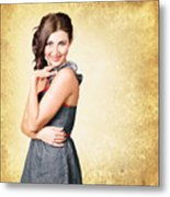 Fashionable Girl In Classic 50s Style Clothing Metal Print