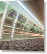 Fast Moving Long Exposure Of Subway Train Underground Tunnel Metal Print