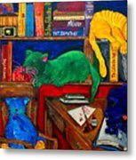 Fat Cats In The Library Metal Print
