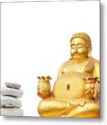 Fat Happy Buddha In Meditation Metal Print