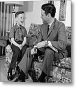 Father And Son Talking And Smiling Metal Print