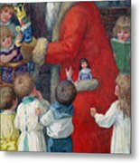 Father Christmas With Children Metal Print