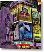 Father Duffy Watching Over Times Square Metal Print by Lee Dos Santos