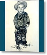 Father's Day Card - Little Buckaroo Metal Print by Carmen Del Valle