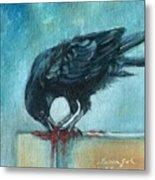 Feasting Raven Metal Print