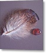 Feather And Sea Glass 3 Metal Print