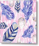 Feathers And Eggs Pattern Metal Print