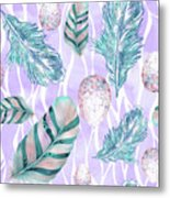 Feathers And Spotted Bird Eggs Woodland Nature Pattern Metal Print