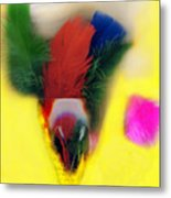 Feathers In Wine Glass Metal Print