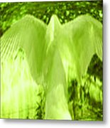 Feathers Of Light - Green Metal Print