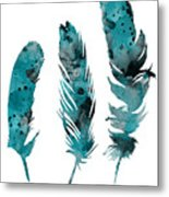 Feathers Watercolor Painting Metal Print