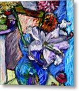 February Still Life Flowers Wine And Orange Metal Print