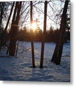 February Sunrise Alongside A Tree Metal Print