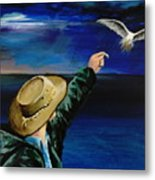 Feeding My Gull Friend Metal Print