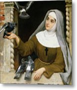 Feeding The Pigeons Metal Print by Eugen von Blaas