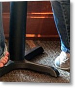 Feet In A Booth Metal Print