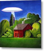 Feline Ufo Abduction Metal Print