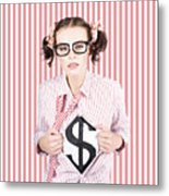 Female Business Superhero Showing Dollar Sign Metal Print