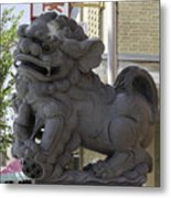Female Chinese Guardian Lion Metal Print