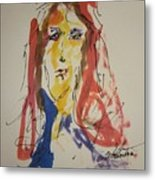 Female Face  Study  F Metal Print