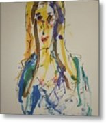 Female Face Study P Metal Print