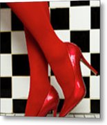 Female Legs In Red Pantyhose And Shoes On High Heels On A Background Metal Print