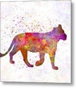 Female Lion 01 In Watercolor Metal Print