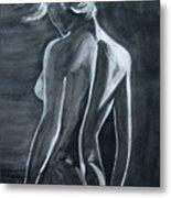 Female Nude Black And Grey Metal Print
