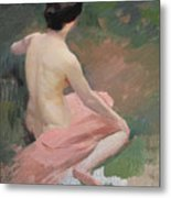 Female Nude Metal Print by Jules Ernest Renoux