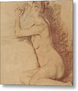 Female Nude With Folded Hands Metal Print