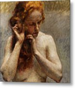 Female Nude with Red Hair Metal Print
